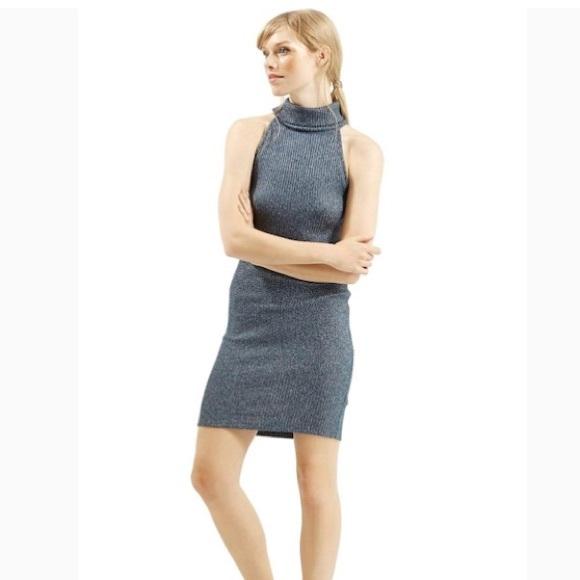 1afad99eaf5 TOPSHOP Navy Sleeveless Turtleneck Knit dress